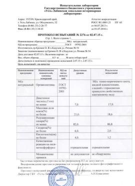 Протокол испытаний (2015 год)